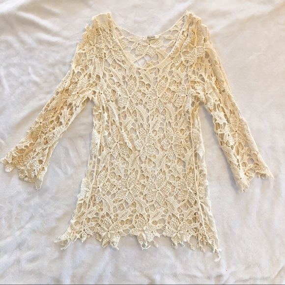 Tops Cream Lace Crochet Long Sleeve Top Blouse Poshmark